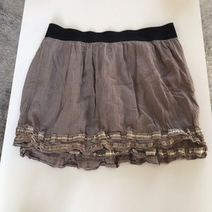Free people taupe sequin rayon mini skirt sz L